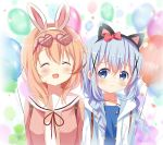 2girls :d ^_^ animal_ears artist_name backpack bag balloon black_hairband blue_eyes blue_hair blue_jacket blue_vest blurry blurry_background bow braid brown_hair cat_ears closed_eyes closed_mouth commentary depth_of_field deyui english_commentary fake_animal_ears gochuumon_wa_usagi_desu_ka? hair_bow hair_ornament hair_over_shoulder hairband heart heart-shaped_eyewear hoto_cocoa hoto_cocoa's_school_uniform jacket kafuu_chino kafuu_chino's_school_uniform long_hair low_twintails multiple_girls neck_ribbon open_clothes open_jacket open_mouth pink_jacket purple-framed_eyewear rabbit_ears red_bow red_neckwear ribbon sailor_collar school_uniform serafuku shirt sidelocks signature smile twin_braids twintails upper_body vest white_hairband white_sailor_collar white_shirt x_hair_ornament