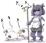 1girl :d animal bare_shoulders bell blush breasts collared_shirt crook curled_horns demon_girl demon_horns demon_tail demon_wings eighth_note grey_hair grey_skirt holding horns looking_away mini_wings monster_girl musical_note open_mouth original pleated_skirt purple_skin purple_wings shadow sharp_teeth sheep shepherd's_crook shirt skirt sleeveless sleeveless_shirt small_breasts smile solo staff standing tail teeth u-non_(annon'an) white_background white_shirt wings yellow_eyes