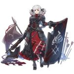 1girl alternate_costume armor armored_dress arrow axe bangs belt black_background black_pupils black_ribbon blood blood_drip blood_on_face bloody_clothes bloody_weapon braid breastplate breasts chair corset crazy_eyes eyebrows_visible_through_hair flag full_body girls_frontline gloves gradient_hair greaves grey_hair grey_jacket gun holding holding_gun holding_weapon jacket labyrinth_of_the_dark large_breasts long_hair looking_at_viewer multicolored_hair namesake neck_ribbon official_art plate_armor polearm pouch red_eyes red_ribbon redhead ribbon shield shotgun shotgun_shells sidelocks silver_hair smile solo spas-12 spas-12_(girls_frontline) spear sword terras torn_clothes transparent_background twintails weapon