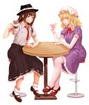 2girls artist_request bangs black_footwear black_headwear black_skirt blonde_hair blush bow breast_pocket brown_eyes brown_footwear brown_hair cup dress drinking_glass eyebrows_visible_through_hair fedora frilled_shirt_collar frills full_body grin hand_up hat hat_bow highres holding holding_cup long_hair looking_at_viewer maribel_hearn mary_janes mob_cap multiple_girls neck_ribbon necktie pantyhose parted_lips petticoat pocket puffy_short_sleeves puffy_sleeves purple_dress red_neckwear red_ribbon ribbon shirt shoes short_hair short_sleeves sidelocks sitting skirt smile socks table touhou transparent_background usami_renko white_bow white_headwear white_legwear white_shirt wine_glass wing_collar yellow_eyes