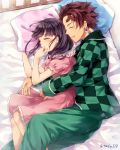 1boy 1girl bed_sheet black_hair blush brown_hair checkered checkered_shirt closed_eyes couple dress earrings eyebrows_visible_through_hair from_above green_pants green_shirt highres hug hug_from_behind jewelry kamado_tanjirou kimetsu_no_yaiba long_hair long_sleeves lying medium_dress ofuton_tamago on_side pants pillow pink_dress shirt short_dress short_sleeves sleeping smile spiky_hair tsuyuri_kanao twitter_username