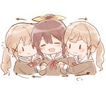 3girls :d bang_dream! bangs blonde_hair blush brown_hair chibi closed_eyes dual_persona girl_sandwich hair_ornament hair_ribbon hamu_(hamusand) hanasakigawa_school_uniform ichigaya_arisa long_sleeves multiple_girls neck_ribbon open_mouth pulling red_neckwear ribbon sandwiched school_uniform sidelocks smile upper_body white_background x_hair_ornament yamabuki_saaya yellow_ribbon |_|