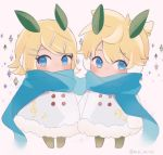 1boy 1girl bangs bass_clef beamed_eighth_notes blonde_hair blue_eyes blue_scarf blush bow buttons chibi coat commentary diamond_(shape) earmuffs eighth_note fur-trimmed_coat fur_trim hair_bow highres kagamine_len kagamine_rin leaf leaf_on_head mipi musical_note musical_note_print scarf short_hair short_ponytail side-by-side snow_bunny spiky_hair swept_bangs treble_clef twitter_username vocaloid white_coat
