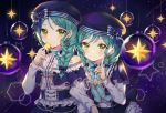 2girls alternate_hairstyle aqua_hair bang_dream! beret black_nails blue_capelet blue_headwear blue_ribbon blue_vest bow braid brooch capelet center_frills churi_(oxxchurixxo) constellation_hair_ornament corset earrings green_eyes hair_over_shoulder hat hat_bow highres hikawa_hina hikawa_sayo holding_star index_finger_raised jewelry locked_arms long_sleeves looking_at_viewer multiple_girls neck_ribbon print_hat ribbon shooting_star siblings single_braid sisters skirt star starry_background starry_sky_print striped striped_ribbon twins upper_body vest