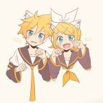 1boy 1girl animal_ears bangs black_collar black_sleeves blonde_hair blue_eyes bow cat_ears collar commentary cropped_torso detached_sleeves fang fish hair_bow hair_ornament hairclip hands_up headphones highres kagamine_len kagamine_rin light_blush looking_at_viewer m0ti necktie open_mouth paw_pose sailor_collar school_uniform shirt short_hair short_ponytail short_sleeves sleeveless sleeveless_shirt smile spiky_hair swept_bangs upper_body vocaloid whiskers white_bow white_shirt