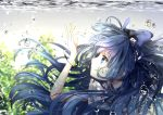 1girl absurdres blue_eyes blue_hair bow bracelet hair_bow highres jewelry long_hair toku_kekakewanko touhou underwater very_long_hair water yorigami_shion