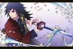 1boy bangs black_hair black_jacket blue_eyes buttons collar collared_jacket commentary_request fighting_stance haori holding holding_sword holding_weapon jacket japanese_clothes katana kimetsu_no_yaiba long_hair long_sleeves looking_to_the_side male_focus parted_lips solo splatter standing sword tomioka_giyuu uniform user_rppt7787 waves weapon