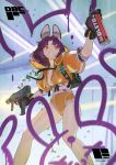 1girl animal_ears assassin_no._6_(tim_loechner) backpack bag black_gloves breasts dual_wielding firing gloves graffiti grin gun highres holding hood hood_down hooded_jacket jacket machine_pistol medium_hair no_bra orange_jacket orange_shorts original pink_eyes puffy_short_sleeves puffy_sleeves purple_gloves purple_hair rabbit_ears see-through shell_casing short_shorts short_sleeves shorts small_breasts smile solo spray_can tim_loechner two-tone_gloves unzipped weapon