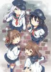 4girls akatsuki_(kantai_collection) anchor_symbol black_legwear blue_eyes blush brown_hair flat_cap folded_ponytail hair_between_eyes hair_ornament hairclip hat hibiki_(kantai_collection) ikazuchi_(kantai_collection) inazuma_(kantai_collection) kantai_collection long_hair long_sleeves looking_at_viewer looking_up messy_hair mitsuyo_(mituyo324) multiple_girls neckerchief one_eye_closed open_mouth pleated_skirt purple_hair school_uniform serafuku short_hair silver_hair skirt smile snowing thigh-highs violet_eyes white_hair