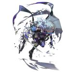 1girl alternate_costume amethyst_(gemstone) bandaged_arm bandages bangs black_footwear black_shirt boots braid breasts cape coattails combat_knife contender_(girls_frontline) crystal damaged detached_sleeves girls_frontline glowing glowing_eyes gradient gradient_jacket grey_hair grey_jacket grey_pants gun hair_over_one_eye handgun high_heel_boots high_heels holding holding_gun holding_knife holding_weapon holster injury jacket knife labyrinth_of_the_dark leg_up looking_away mouth_hold multicolored_hair nishihara_isao official_art pants parted_lips prosthesis prosthetic_arm prosthetic_leg purple_hair purple_jacket running see-through shattered shirt short_hair side_slit sleeveless sleeveless_jacket small_breasts solo streaked_hair thigh-highs thigh_boots tied_hair torn_clothes transparent_background trigger_discipline violet_eyes weapon