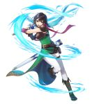 1girl armor bangs belt belt_pouch black_hair boots breastplate brown_footwear dress earrings fingerless_gloves fire_emblem fire_emblem:_thracia_776 fire_emblem_heroes full_body gloves green_dress highres jewelry mareeta_(fire_emblem) official_art pants pouch red_scarf scarf shiny shiny_hair shoulder_armor sleeveless solo standing sword thigh_strap transparent_background weapon white_pants