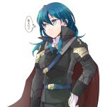 1girl blue_eyes blue_hair byleth_(fire_emblem) byleth_(fire_emblem)_(female) cape closed_mouth cosplay fire_emblem fire_emblem:_three_houses gloves hubert_von_vestra hubert_von_vestra_(cosplay) long_sleeves medium_hair robaco simple_background solo upper_body white_background white_gloves