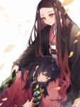 .com_(cu_105) 1boy 1girl bangs black_hair black_jacket blush brown_hair checkered cloak closed_eyes closed_mouth eyebrows_visible_through_hair forehead gradient_hair grey_background hair_ribbon highres jacket japanese_clothes kamado_nezuko kimetsu_no_yaiba kimono long_hair long_sleeves multicolored_hair obi open_cloak open_clothes parted_bangs parted_lips pink_eyes pink_kimono pink_ribbon ribbon sash simple_background sleeping smile tomioka_giyuu translated very_long_hair wide_sleeves