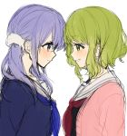 2girls bangs black_shirt blue_eyes blue_hair blue_neckwear blue_shirt blush closed_mouth eye_contact eyebrows_visible_through_hair green_eyes green_hair hair_between_eyes jacket long_hair looking_at_another low_twintails morinaka_kazaki multiple_girls neckerchief nijisanji open_clothes open_jacket parted_lips pink_jacket red_neckwear sailor_collar school_uniform serafuku shirt simple_background smile twintails upper_body virtual_youtuber white_background white_sailor_collar yamabukiiro yuuki_chihiro