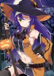 1girl armpits bare_shoulders black_gloves blue_hair breasts closed_mouth detached_sleeves fingerless_gloves fire_emblem fire_emblem:_path_of_radiance fire_emblem_heroes gloves green_eyes hairband halloween_costume haru_(nakajou-28) hat highres jack-o'-lantern long_hair long_sleeves mia_(fire_emblem) midriff moon navel night night_sky one_eye_closed outdoors sky smile solo star_(sky) tree white_hairband witch_hat