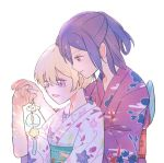 2girls :d bang_dream! bangs blonde_hair floral_print hair_up half_updo hand_on_another's_hand hand_on_another's_stomach holding japanese_clothes kimono multiple_girls obi open_mouth purple_hair red_eyes red_kimono sash seri_(vyrlw) seta_kaoru shirasagi_chisato simple_background smile upper_body violet_eyes white_background white_kimono wide_sleeves wind_chime yuri