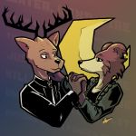 2019 anthro antlers beastars bestteamaker brown_body brown_fur canid canine canis cervid clothed clothing duo female fur hand_holding hand_on_shoulder horn juno_(beastars) looking_at_another louis_(beastars) male male/female mammal multicolored_body multicolored_fur two_tone_body two_tone_fur wolf