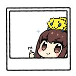 1girl :t blush_stickers brown_hair chan_co chibi fate/extra fate_(series) gen_5_pokemon joltik lowres on_head photo_(object) pokemon polaroid thumbs_up white_background
