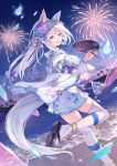 1girl animal_ear_fluff animal_ears aqua_eyes blue_eyes bracelet breasts fireworks fish floral_print flower fox_ears fox_girl fuuro_(johnsonwade) goldfish hair_flower hair_ornament japanese_clothes jewelry kimono kimono_skirt large_breasts long_hair ocean open_mouth original ponytail print_kimono sandals silver_hair tail thigh-highs very_long_hair white_kimono white_legwear yukata