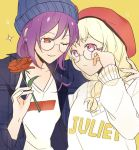 2girls adjusting_eyewear alternate_hairstyle arm_around_shoulder bang_dream! bangs beanie beret bespectacled blonde_hair blue_headwear blue_shirt braid clothes_writing flower frown glasses grin hair_over_shoulder hat holding holding_flower multiple_girls one_eye_closed plaid plaid_shirt purple_hair red_eyes red_flower red_headwear red_rose rose seri_(vyrlw) seta_kaoru shirasagi_chisato shirt single_braid smile sparkle sweatdrop sweatshirt upper_body violet_eyes yellow_background