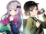 2girls backpack bag bang_dream! bangs bari_dal baseball_cap black_hair black_headwear black_skirt blue_jacket book camera center_frills green_eyes grey_hair hair_ribbon hat highres holding holding_book holding_camera jacket long_hair long_sleeves looking_at_viewer minato_yukina mitake_ran multicolored_hair multiple_girls neck_ribbon parted_lips purple_ribbon purple_scarf redhead ribbon scarf short_hair skirt smile streaked_hair upper_body violet_eyes white_background winter_clothes yellow_eyes