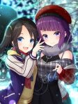2girls :d arm_up bangs belt beret black_hair black_nails blue_eyes blue_jacket blunt_bangs blurry blurry_background blush checkered checkered_shirt commentary depth_of_field dress ear_piercing eyebrows_visible_through_hair fur_scarf grey_shirt hair_ornament hat holding holding_umbrella idolmaster idolmaster_shiny_colors jacket layered_dress long_hair looking_at_viewer mitsumine_yuika multiple_girls nail_polish night open_mouth outdoors piercing plaid plaid_scarf purple_hair red_headwear red_nails red_scarf rusha_(r_style) scarf shirt side-by-side smile standing striped_sleeves sweater_vest swept_bangs tanaka_mamimi transparent transparent_umbrella twintails umbrella upper_body upper_teeth violet_eyes