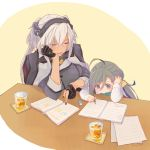 2girls ahoge black_gloves black_nails book bow bowtie breasts capelet closed_eyes coaster colis collar cup dark_skin dress drink drinking_glass eraser glasses gloves grey_eyes grey_hair hair_between_eyes headgear kantai_collection kikumon kiyoshimo_(kantai_collection) large_breasts long_hair low_twintails multiple_girls musashi_(kantai_collection) nail_polish notebook partly_fingerless_gloves pencil platinum_blonde_hair remodel_(kantai_collection) semi-rimless_eyewear shirt short_hair_with_long_locks sitting sleeveless sleeveless_dress studying table tall twintails two-tone_background two_side_up under-rim_eyewear very_long_hair white_background white_shirt yellow_background