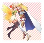 2girls armor bare_shoulders belt boots brown_eyes cape choker fairy_wings fire_emblem fire_emblem_heroes flower gloves hair_flower hair_ornament highres leaf long_hair multiple_girls open_mouth peony_(fire_emblem) pointy_ears sharena teeth twintails user_mtjv7283 wings