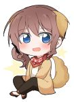 1girl :d alternate_hairstyle animal_ears ankle_strap bang_dream! bangs between_legs black_pants blue_eyes brown_footwear brown_jacket chibi crossed_legs dog_ears dog_tail gyaheung hand_between_legs jacket kemonomimi_mode long_sleeves open_mouth pants red_bandana shirt side_ponytail sidelocks sitting smile solo star starry_background tail white_shirt yamabuki_saaya