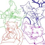 1:1 beastars bestteamaker bird_dog blush bodily_fluids canid canine canis cervid clothing domestic_dog female haru_(beastars) hunting_dog jack_(beastars) juno_(beastars) kissing labrador lagomorph legosi_(beastars) leporid louis_(beastars) male male/female male/male mammal rabbit retriever sweat wolf yaoi