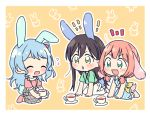 3girls :d :o ^_^ ahoge animal_ears bang_dream! bangs black_hair blue_dress blue_hair blush bunny_background bunny_tail closed_eyes cup dress flying_sweatdrops green_eyes green_shirt grey_skirt hanazono_tae kemonomimi_mode long_hair low_twintails matsubara_kanon multiple_girls one_side_up open_mouth outline pants pink_shirt rabbit_ears re_ghotion shirt short_sleeves simple_background sitting skirt sleeveless sleeveless_dress smile striped striped_dress suspender_skirt suspenders tail teacup twintails uehara_himari v-shaped_eyebrows white_outline white_pants yellow_background