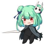 1girl bailingxiao_jiu bangs black_bodysuit black_cloak blue_bow blue_flower blush bodysuit bow cloak commentary_request double_bun eyebrows_visible_through_hair fang flower full_body green_hair hair_between_eyes hair_bow hair_flower hair_ornament holding holding_weapon hololive long_hair open_mouth red_eyes simple_background solo standing uruha_rushia virtual_youtuber weapon white_background