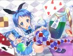 alice_(wonderland) alice_(wonderland)_(cosplay) argyle argyle_legwear blue_eyes blue_hair bottle card checkered clover cookie cosplay food kantai_collection long_hair malino_(dream_maker) multicolored multicolored_clothes multicolored_legwear playing_card samidare_(kantai_collection) thigh-highs very_long_hair