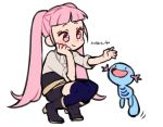 1girl artist_name blue_legwear boots closed_mouth crossover do_m_kaeru fire_emblem fire_emblem:_three_houses garreg_mach_monastery_uniform gen_2_pokemon hilda_valentine_goneril long_hair open_mouth pink_eyes pink_hair pokemon pokemon_(creature) simple_background smile squatting thigh-highs twintails uniform white_background wooper