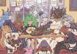 apollonia_vaar character_request djeeta_(granblue_fantasy) drang_(granblue_fantasy) eating food granbelm granblue_fantasy meat nier_(granblue_fantasy) orchis six_(granblue_fantasy) table vampy vinhnyu