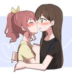 2girls ^_^ bang_dream! black_hair black_shirt blue_background blush brown_hair clenched_hands closed_eyes from_side green_eyes gyaheung hair_ribbon hanazono_tae hands_up heart heart_of_string hover_hand imminent_kiss long_hair multiple_girls outline ponytail ribbon shirt sidelocks simple_background suspenders sweatdrop upper_body v-shaped_eyebrows white_outline yamabuki_saaya yellow_ribbon yellow_shirt yuri