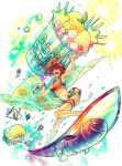 1girl bikini breasts food fruit graphite_(medium) ice_cream nyanko_daisensou open_mouth redhead short_hair summer surf surfing swimsuit torpedo traditional_media ura_(mukimeineko) watercolor_(medium)