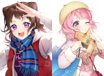 2girls :d ;) bag bang_dream! bangs bari_dal beret blue_scarf blush brown_hair clothes_writing finger_to_cheek fur-trimmed_sleeves fur_trim hat highres holding holding_bag hood hood_down hooded_coat index_finger_raised looking_at_viewer maruyama_aya medium_hair multiple_girls one_eye_closed open_mouth pink_coat pink_eyes pink_hair plaid plaid_scarf raglan_sleeves salute scarf shirt shopping_bag shoulder_bag smile sparkling_eyes toyama_kasumi upper_body violet_eyes white_background winter_clothes yellow_headwear yellow_scarf