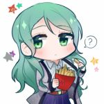 1girl ? aqua_hair bang_dream! belt blue_shirt blue_skirt chibi collared_shirt commentary_request food french_fries green_eyes grey_jacket hayano_hikawa hikawa_sayo holding holding_food jacket long_hair long_sleeves shirt simple_background skirt solo spoken_question_mark star white_background