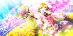 blush brown_hair dress koizumi_hanayo love_live!_school_idol_festival_all_stars short_hair smile spring violet_eyes wink