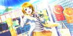 blush brown_hair jacket koizumi_hanayo love_live!_school_idol_festival_all_stars short_hair smile violet_eyes