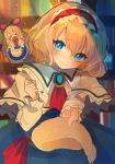 >_< 1girl alice_margatroid apron arm_up blonde_hair blue_dress blue_eyes blurry blurry_background blush bookshelf brooch capelet chikuwa_(tikuwaumai_) clenched_hand commentary_request cravat depth_of_field dress expressionless floating giving hair_ribbon hairband head_tilt highres indoors jewelry light_particles lolita_hairband long_sleeves looking_at_viewer open_mouth outstretched_arm red_neckwear ribbon scarf shanghai_doll sketch solo touhou twilight waist_apron white_capelet