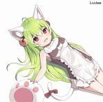 1girl ahoge animal_ears artist_name bell breasts cat_ears cat_girl cat_tail dress eyebrows_visible_through_hair fang green_hair hair_bell hair_between_eyes hair_ornament highres lazbee long_hair looking_at_viewer original red_eyes simple_background slit_pupils smile solo tail white_background
