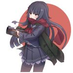 1girl bangs black_hair black_legwear black_skirt blunt_bangs eyebrows_visible_through_hair flag_background frills girls_frontline gun holding holding_gun holding_weapon jacket jacket_on_shoulders japanese_flag kuro_kosyou long_hair long_sleeves orange_eyes pantyhose pleated_skirt red_neckwear red_scarf red_sun sailor_collar scarf skirt solo submachine_gun type_100 type_100_(girls_frontline) weapon