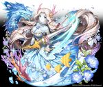 1girl apple_caramel arcana_tactics blue_flower blue_skin breasts bubble check_copyright company_name coral dragon dress flower highres holding holding_weapon horns lance large_breasts long_hair looking_at_viewer motion_blur official_art original pink_horns polearm solo tropical_fish very_long_hair water weapon white_hair yellow_eyes