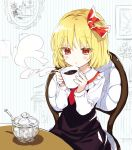 1girl akidzuki_haruhi black_skirt black_vest blonde_hair blowing chair coffee coffee_mug cup hair_ribbon long_sleeves mug red_eyes ribbon rumia shirt short_hair sitting sketch skirt spoon steam sugar_cube table touhou vest white_shirt
