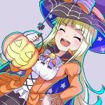 1girl :d ^_^ bang_dream! blonde_hair blush bow bowtie bug cape closed_eyes cross-laced_clothes dress dutch_angle grey_background halloween halloween_costume hand_on_hip hat hat_bow hiroki_(yyqw7151) holding_jack-o'-lantern jack-o'-lantern long_hair long_sleeves open_mouth purple_neckwear ribbon_trim simple_background smile solo spider star star_print striped striped_bow striped_neckwear tsurumaki_kokoro witch_hat