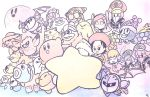 adeleine bandana_waddle_dee chilly_(kirby) chuchu_(kirby) coo_(kirby) dark_meta_knight daroach flamberge_(kirby) flying francisca_(kirby) gooey hat highres kine_(kirby) king_dedede kirby kirby:_star_allies kirby_(series) magolor marx mask meta_knight nago_(kirby) pitch_(kirby) plugg_(kirby) poppy_bros_jr qbby ribbon_(kirby) rick_(kirby) smile susie_(kirby) taranza traditional_media user_wadu3873 void_termina waddle_doo warp_star watercolor_(medium) zan_partizanne