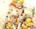 :d artist_name back_bow balloon bang_dream! bangs blonde_hair blue_bow blush bow center_frills character_hat_ornament checkered checkered_floor commentary_request confetti corset dress earrings frilled_dress frills group_name hair_bow hat hat_ribbon highres jewelry korean_commentary long_hair looking_at_viewer michelle_(bang_dream!) multicolored multicolored_clothes neck_ribbon open_mouth pennant print_hat red_bow ribbon short_sleeves smile striped striped_neckwear striped_ribbon top_hat tsurumaki_kokoro ttori twintails vest yellow_eyes