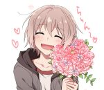 1girl :d ^_^ aoba_moca bang_dream! bouquet closed_eyes facing_viewer flower grey_hair grey_jacket heart holding holding_bouquet hood hood_down hooded_jacket jacket open_mouth pink_flower re_ghotion shirt short_hair simple_background smile solo upper_body white_background white_shirt